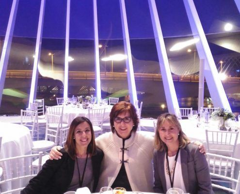 Part of the Art Valencia team during a VIP event at the Palau de les Arts Reina Sofía after a hard day's work so that everything went out as well as possible